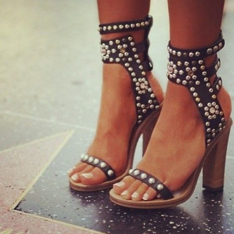 Isabel Cognac Caroll Elvis Ankle-Wrap Sandal Open-Toe Studded Crystal Embellishment Stacked Heel Summer Sandals Shoes Women<br><br>Aliexpress