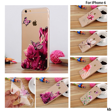 Fashion Luxury Flower Painted Relief Soft TPU For Apple iPhone 6s 6 iPhone6 4.7″ Case Rhinestone Flower Cell Phone Cover Cases