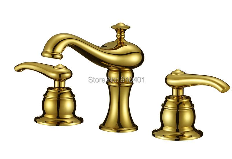 Фотография Modern Golden Brass Bathroom Basin Faucet Double Handles Vanity Sink Mixer Tap