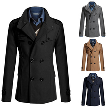 double breasted trench coat men 2016 brand new stand collar cheap mens trench coat slim fit winter coat (China (Mainland))