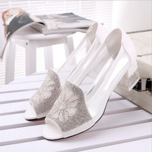 2016 High Wedge Heel Sandals Rhinestone Flower Style Peep toe Transparent Shoes Women s Summer Shoes