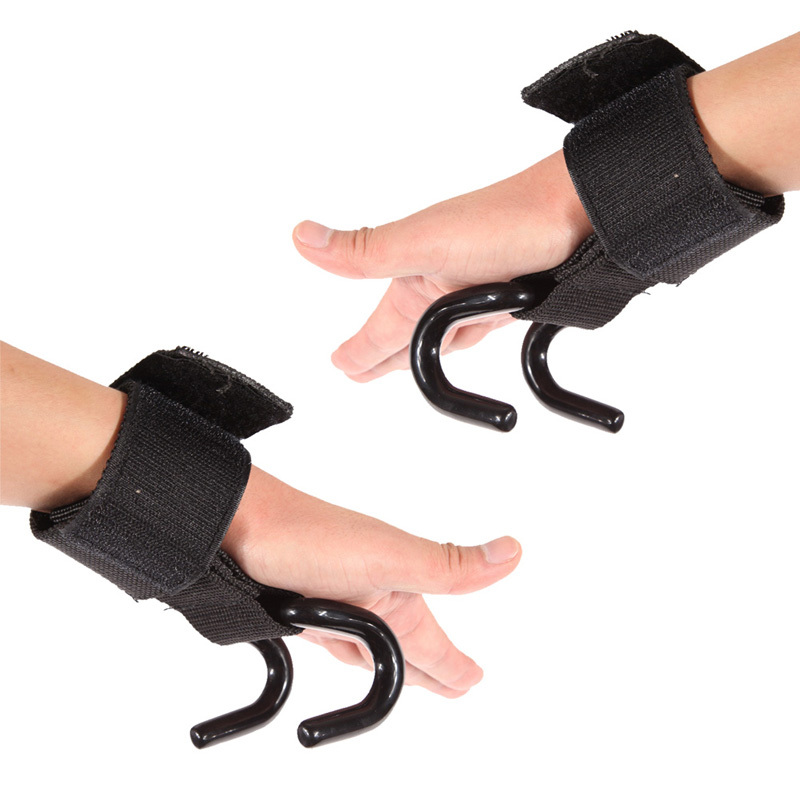 Pro Weight Lifting Training Gym Hook Grips Straps Gloves Wrist Support Lift DM 6