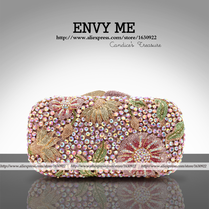 Bling Crystal Clutch Handbag Lady Diamante Evening Clutch Pink Hot New 2015 Floral Crystal Purse