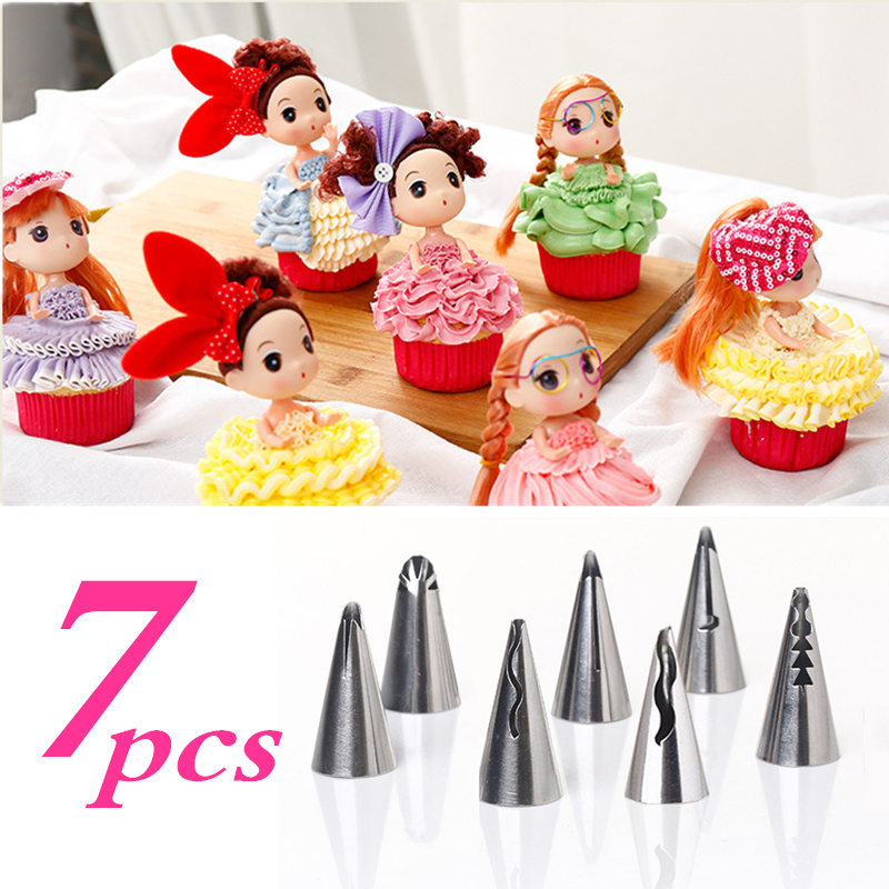 7pcs/lot Metal Stainless Steel Girl skirt dress Cake cream Decorators Pastry Nozzles Piping Tips for the Kitchen Baking(China (Mainland))