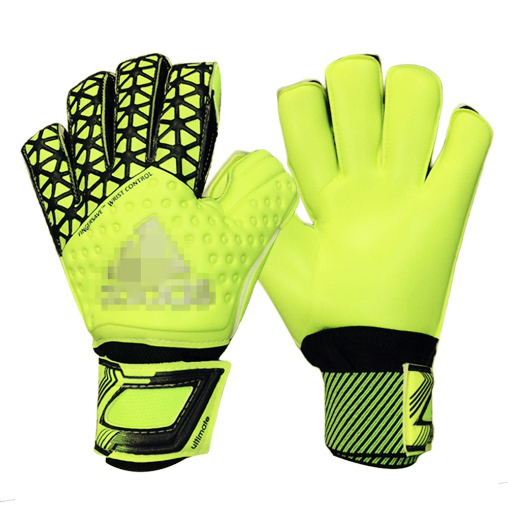 Free shipping Thickened top goalkeeper gloves football lungmoon goalkeeper gloves soccer gloves- LATEX palm with figer(China (Mainland))