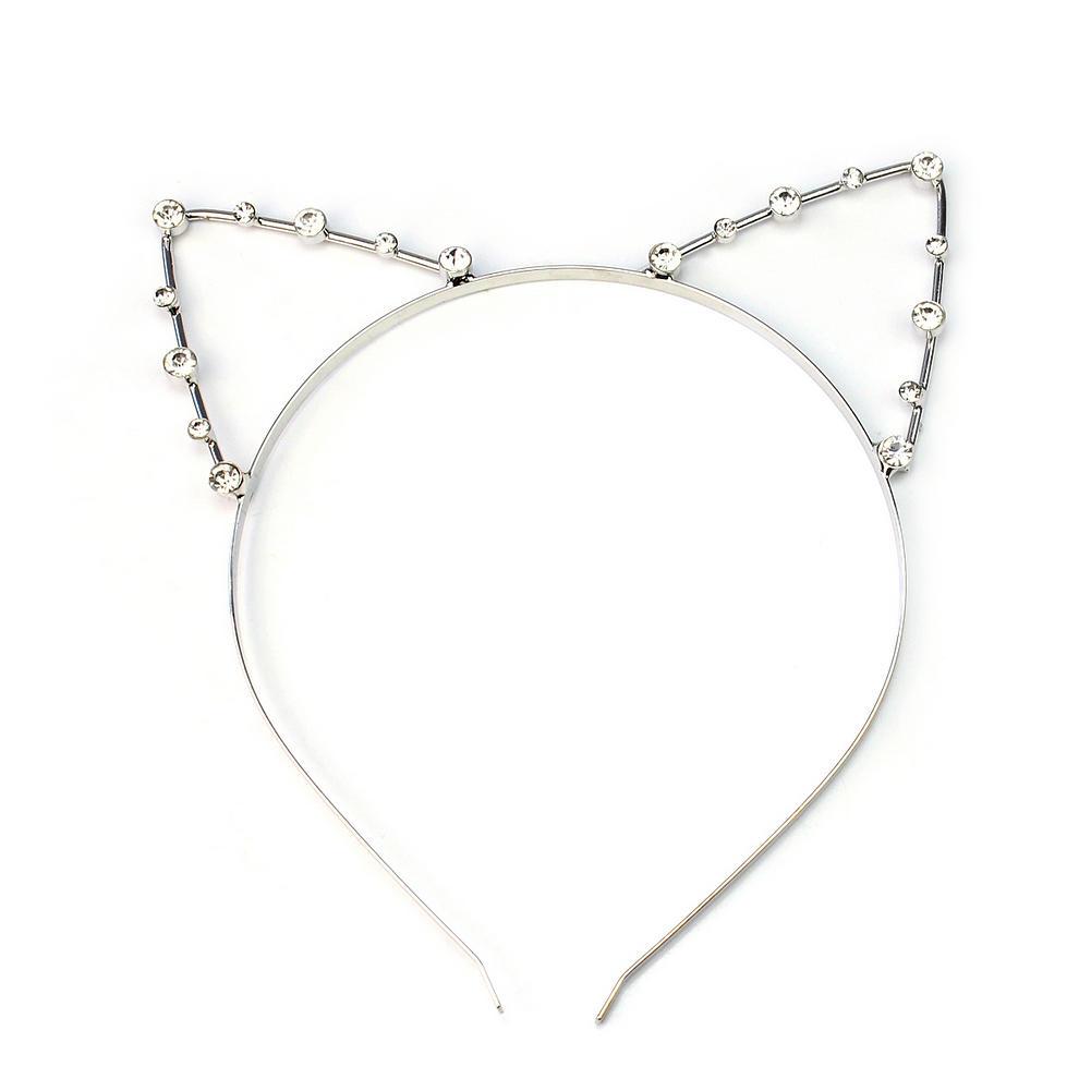 Sexy Cat Ear Girl Head Band Crystal Rhinestones Hair Band Metal Fashion Silver(China (Mainland))