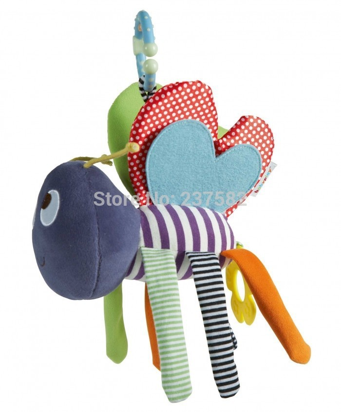 Plush Bee Activity Chimes Toy Bed Musical Mobile for Baby Teether Bed Hanging Rattles Infant Toys(China (Mainland))