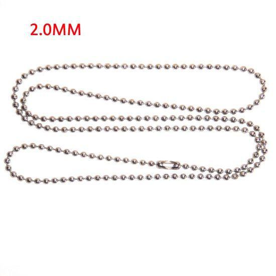 """Wholesale Free Shipping 10 Strand Silver Plated Ball Beads Chain Necklace 2mm Bead Connector 70cm(27"""")(W01749 X 1)(China (Mainland))"""