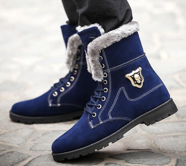 Small Size 39-44 Men Winter Boot Male Fashion Trend Keep Warm Shoe Boy Skull Plush Boots Student Non-Slip Shoe Man Lace-Up Shoes(China (Mainland))