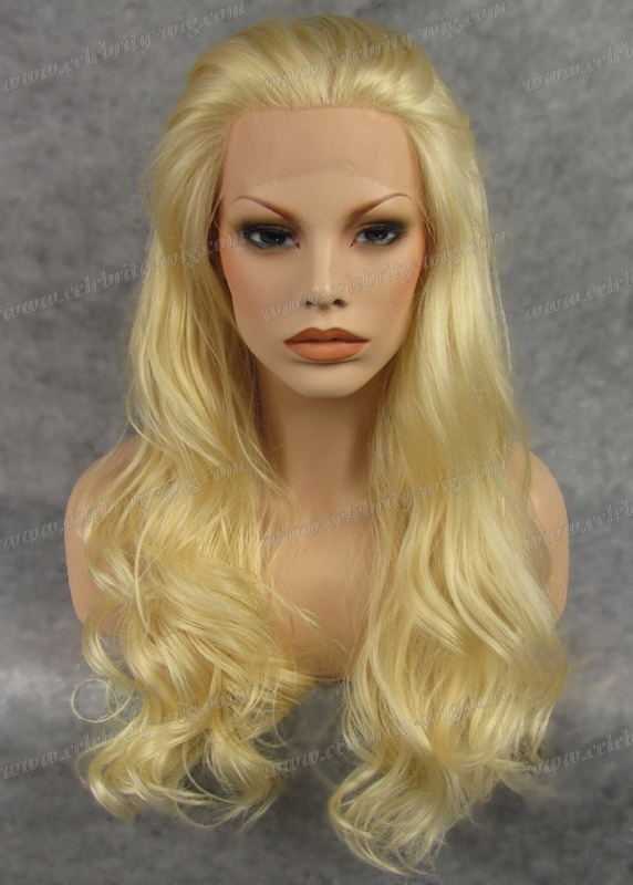 Фотография Golden Blonde Natural Loose Wavy Synthetic Lace Front Wig For Man