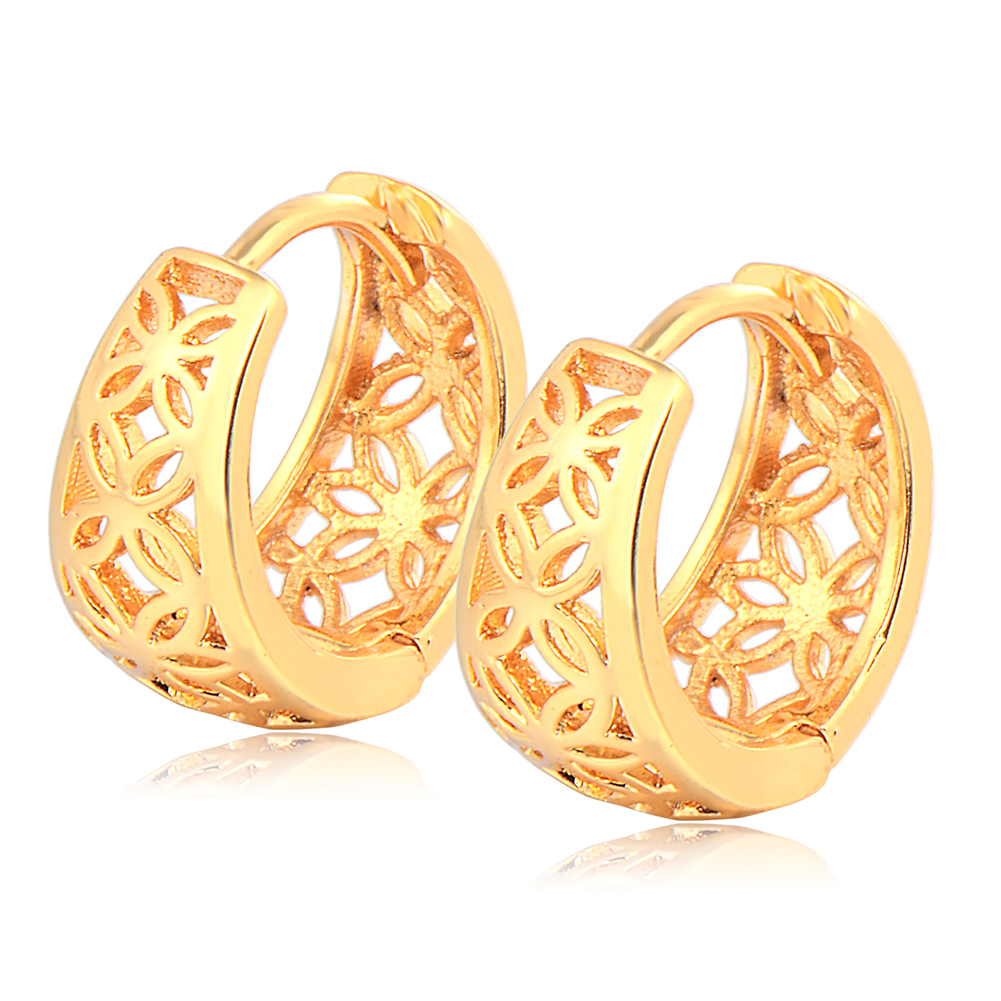 Fashion Jewelry 14K Gold Filled Premier Designs Band Women Hollow Hoop Earring Gift Wedding Freeshipping(China (Mainland))