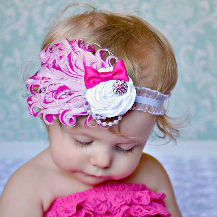 feather baby headband girls' hairbands Christmas hair tie infant Headbands headwear 9colors high quality(China (Mainland))