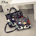 2016 Famous Casual Designs Women Cartoon Printing Leather Composite Bag Women s Handbags Graffiti Leather Shoulder