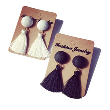 2016 New Arrival Fashion Black&White Yarn Ball Tassel Drop Dangle Earrings for Women Cute Girl Jewelry Brincos Wholesale E2321(China (Mainland))