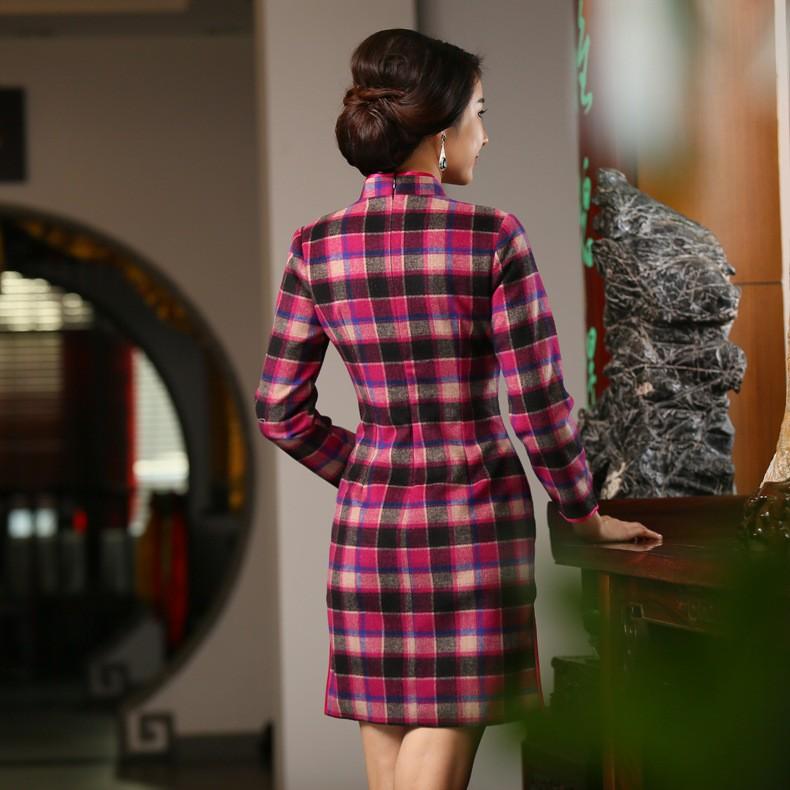 วินเทจของผู้หญิงขนสัตว์ลายสก๊อตสั้นCheongsamจีนแฟชั่นสไตล์การแต่งกายที่สวยงามQipaoขนาดSml XL XXL XXXL F101004 ถูก