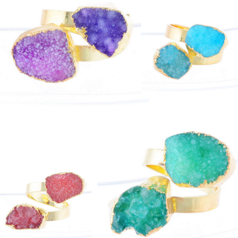 Hot Selling 2015 Fashion Trendy 18K Gold Plated Natural Stone Quartz Amethyst Crystal Druzy Drusy Ring For Women ZR17-ZR20(China (Mainland))