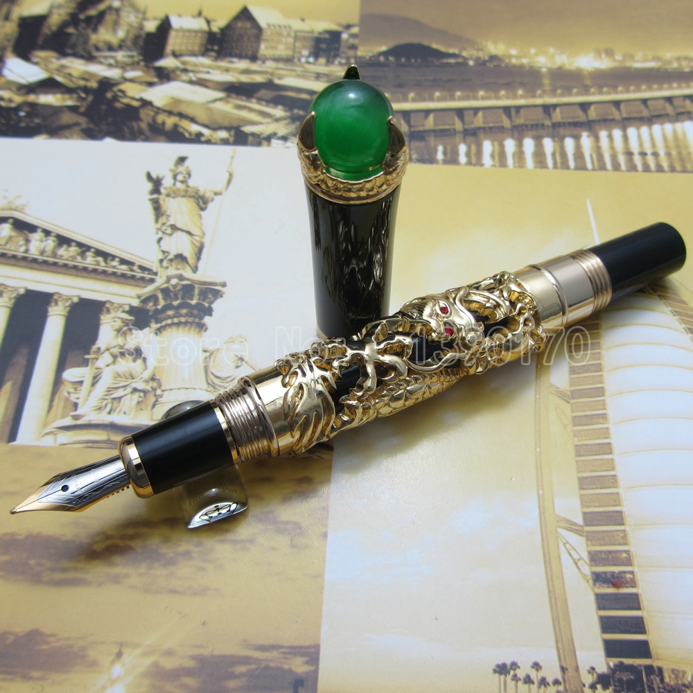 Jinhao Gold White Silver dragon king play pearl fountain pen beautiful retro culture gift pen with Ordinary Gift Box JT115H<br><br>Aliexpress