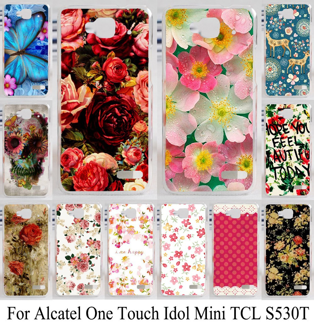For Alcatel one touch Idol Mini TCL S530T 6012D 6012A 6012X 6012W lovely beautiful flower skin shell case phone case hood bag