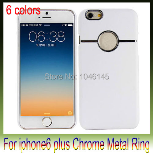 For iphone6 plus i6 Deluxe Chrome Hard Case Back Cover Casing with Metal Ring Rear Round Hole For iphone 6 5.5 Inch(China (Mainland))