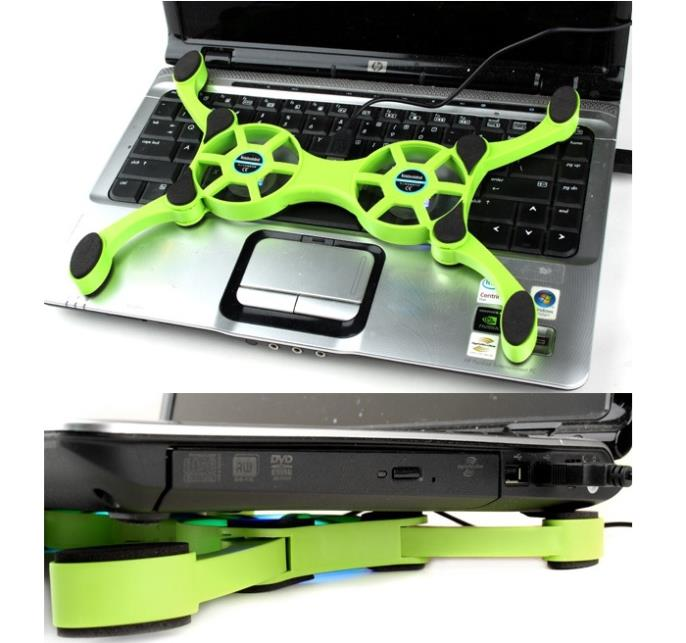100pcs/lot light Cooler Pad lap cooling pad Portable Folding USB 2 Fans Notebook laptap Cooling with with retail package(China (Mainland))