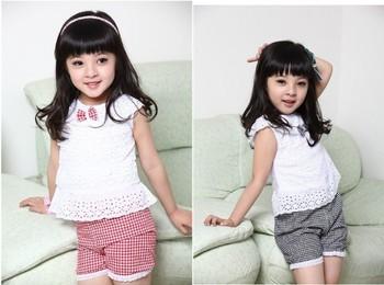 Kids Clothing Set 2013 New Summer Lace Children Girl Clothes Set T Shirt And Lattice shorts Pants 2 Colors Infant Garment