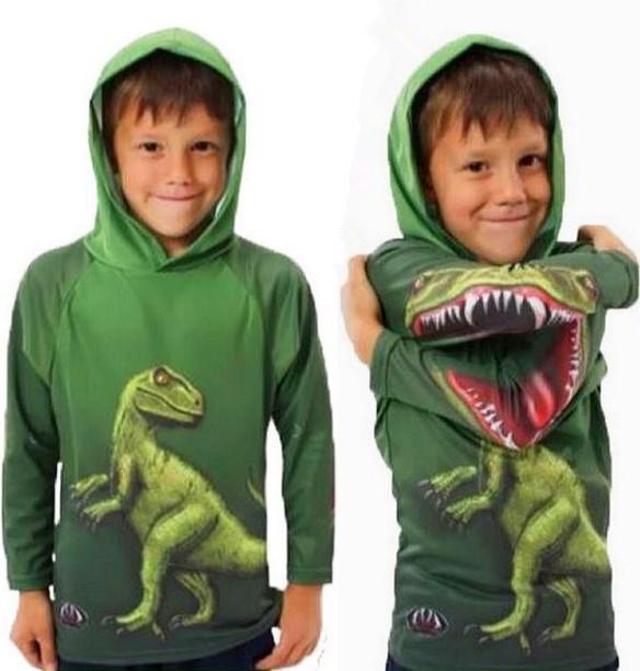 Cartoon Dinosaur Children Hoodies Sweatshirts Novelty Green Full Sleeve Cotton Tops Blouse Unisex Kids Spring/Autumn Clothing(China (Mainland))