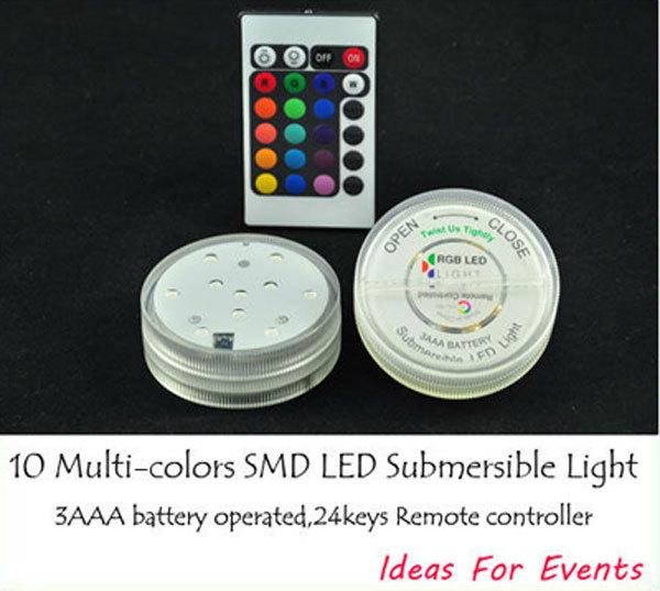 Free shipping 10pcs Battery operated Remote control 16colors Submersible LED light, LED vases base light for wedding celebration(China (Mainland))