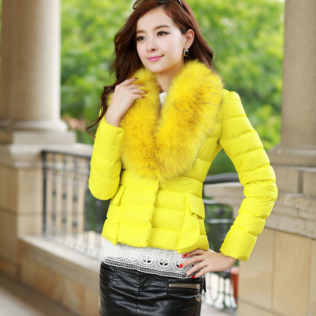 2013 winter women's sweet all-match large fur collar short down wadded jacket design cotton-padded jacket 02212213867