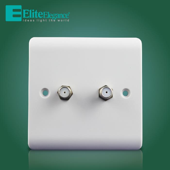 Discount Sale High Quality 2 Gang Satellite Socket Electrical Socket, wall socket, Elite Elegance V168(China (Mainland))