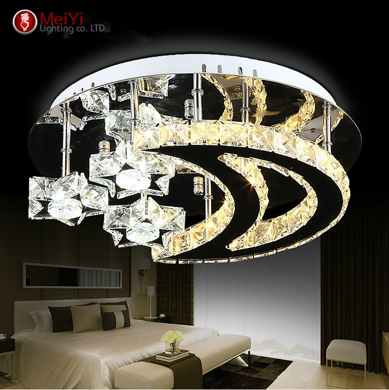 2016 novelty modern led crystal ceiling lights moon light