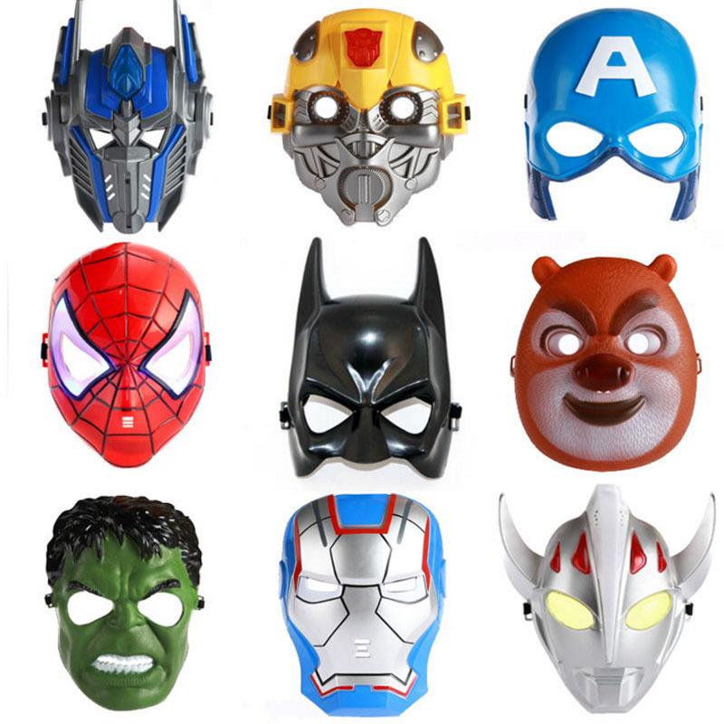 Luminous LED Mask Cosplay Cartoon Mask Toy Spider Man Batman Pacifier Captain America Mask The Hulk Plastic Mask Children Kids(China (Mainland))