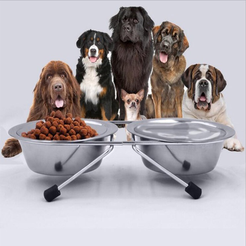 Pet Daily Necessities Stainless Steel Double Dog Bowls Removable Cat Puppy Bowl Drinking Water Dish Pets Feeder Products ENI011(China (Mainland))