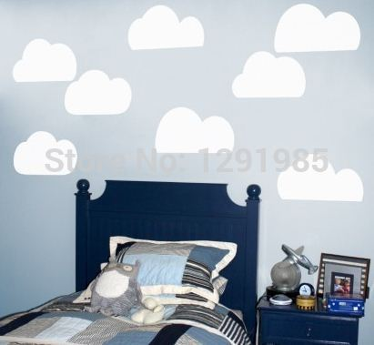 Free Shipping Funny Clouds Wall Vinyl Sticker Decals Decor Art Bedroom Design Mural Removable 2014 fashion Poster(China (Mainland))
