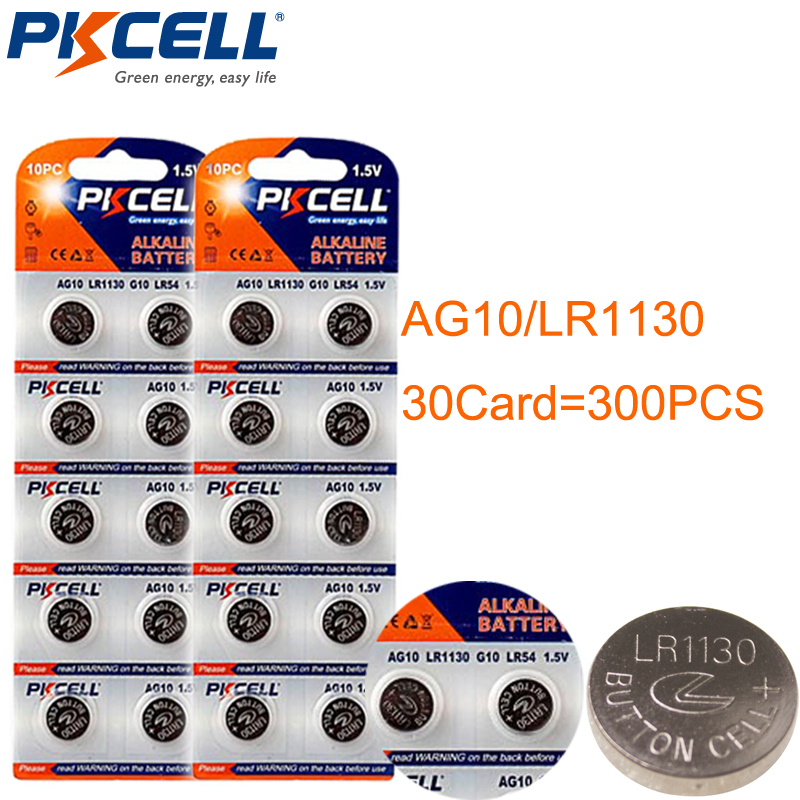 30Pack/300Pcs 1.5V AG10 LR54/189/L1130 Button Coin Cell ag Battery For Watches,Calculators,Computers,Digital Cameras,MP3 Players(China (Mainland))