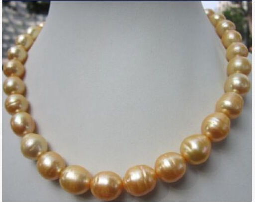 hot 12-15mm south sea baroque yellow pearl necklace 18 inch 14k Gold Clasp - wei xinhui's store