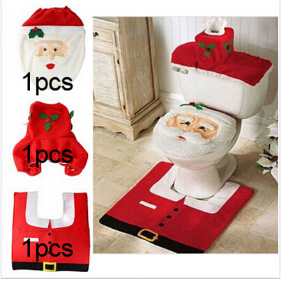 2015 Hot 1Lot Fancy Santa Toilet Seat Cover And Rug Bathroom Set Contour Rug