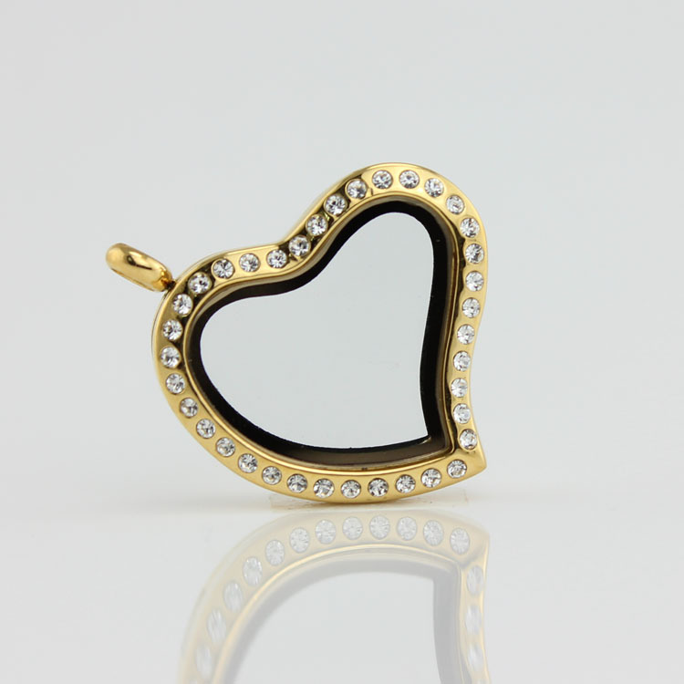 Free Shipping High Quality Gold Crystal 316L Stainless Steel Hinge Opened Floating Charm Heart Locket(China (Mainland))