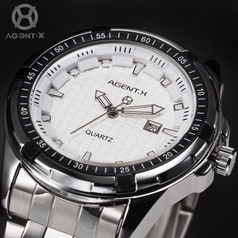 AGENTX Silver White 3D Plaid Dial Date Analog Steel Band Strap + Gift Box Card Business Men's Fashion Dress Quartz Watch /AGX063(China (Mainland))