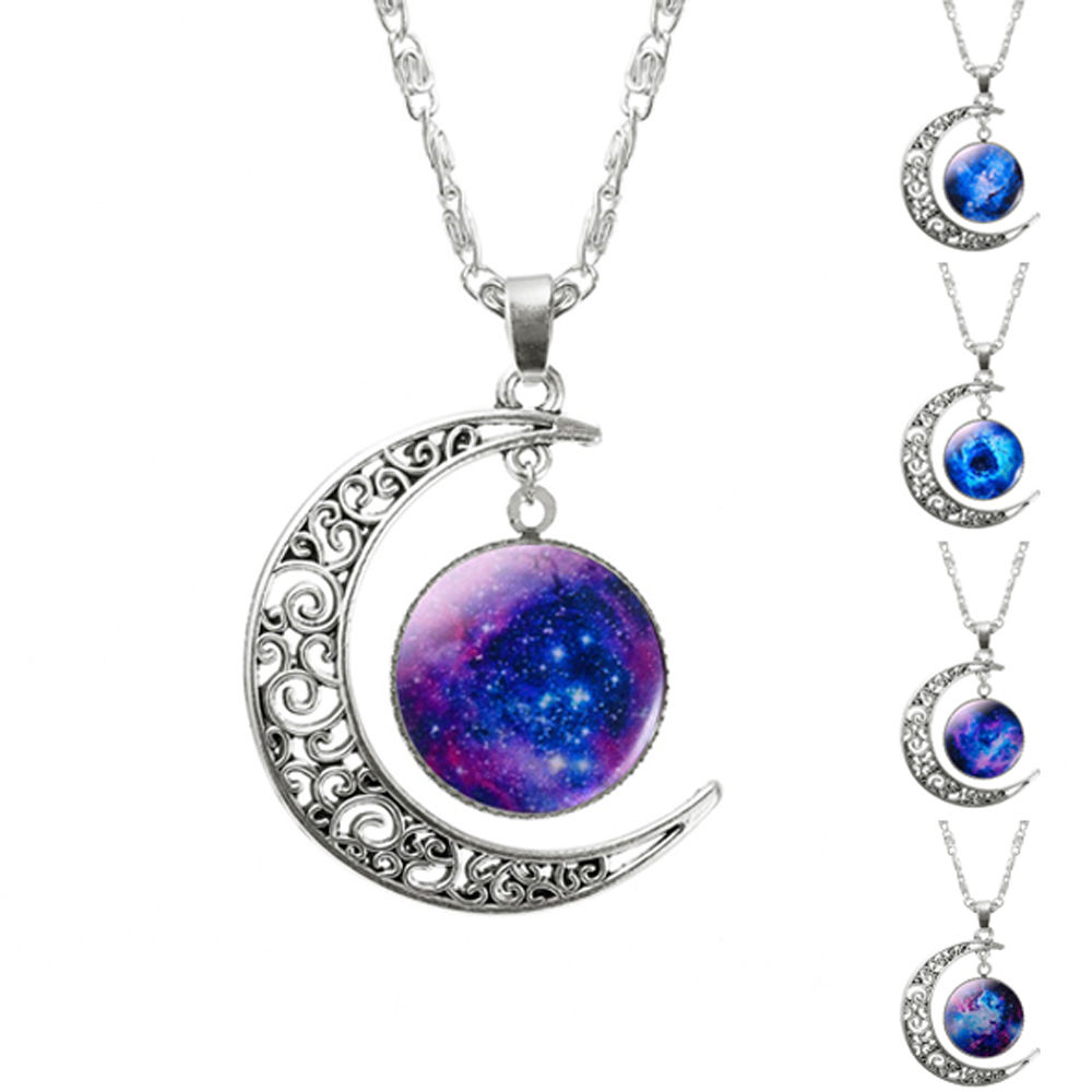 2016 New Hot Fashion Jewelry Choker Necklace Glass Galaxy Lovely Pendant Silver Chain Moon Necklace Free