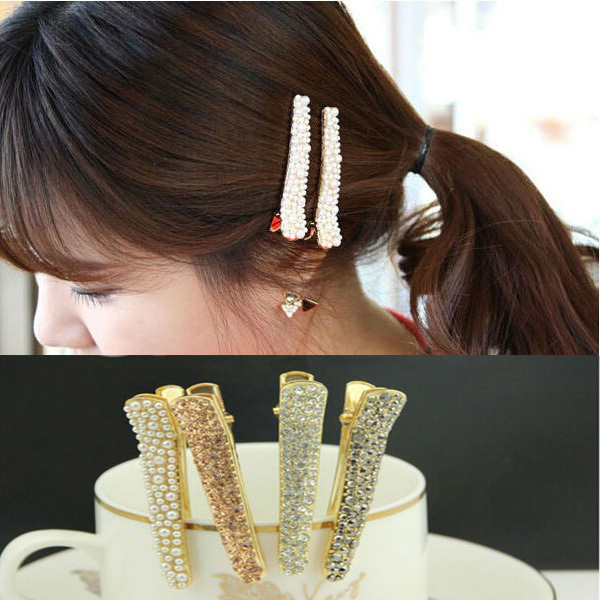 Shine Full Crystal Rhinestone Pin Hair Clip for Girls White Black Champagne Color Wholesale 12pcs/lot A3R1C(China (Mainland))