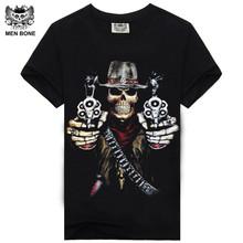 Buy Men bone Hot 100% Cotton T-shirt Male Fashion Brand rock punish punk 3D skull Men T Shirt street wear cool Camisa Tees XXXL for $6.42 in AliExpress store