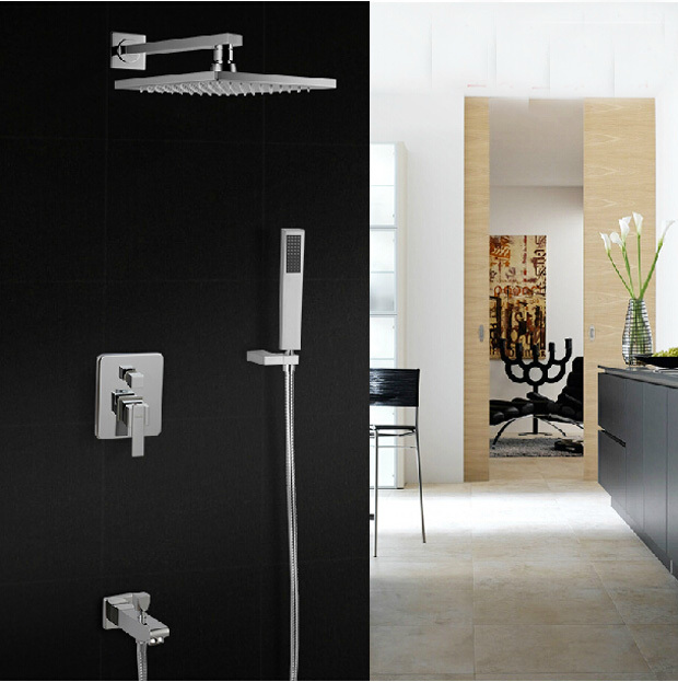 Wall Mount 8 inch ABS Rainfall Shower Mixer Faucet Bathroom Tub Shower Tap with Handshower Chrome Finish