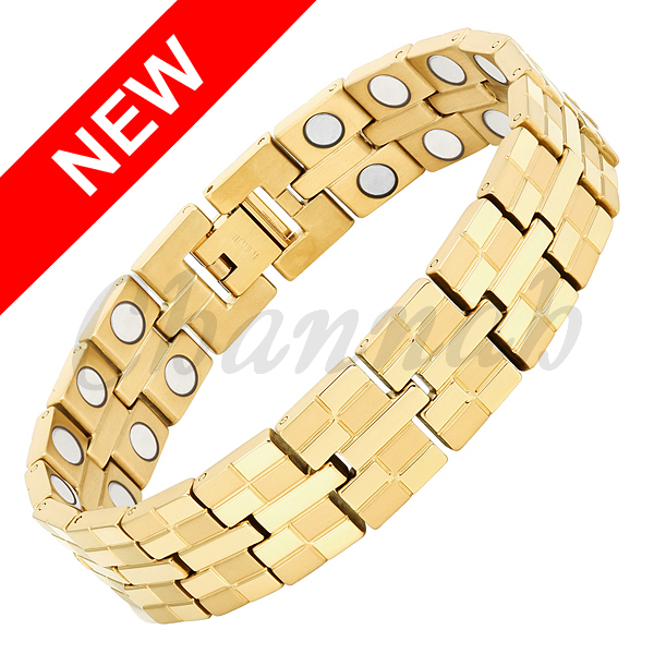 2016 Men Jewelry 36pcs Magnets Special 18K Gold High Power Magnetic Bracelet Titanium Bangle Free Shipping Hong Kong Post Fast(China (Mainland))