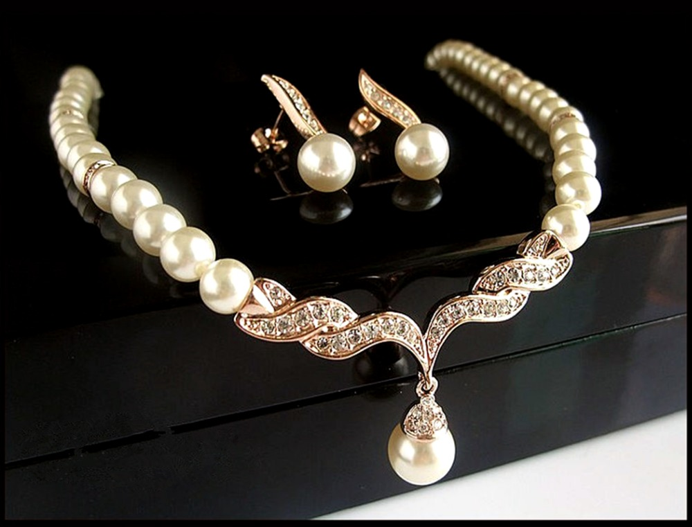 Rose Gold Bridal Jewelry Sets Cream Faux Pearl Rhinestone Crystal Diamante Wedding Necklace Earrings - Yiwu Liangqian Accessories Firm (Mini Order>$8 store)