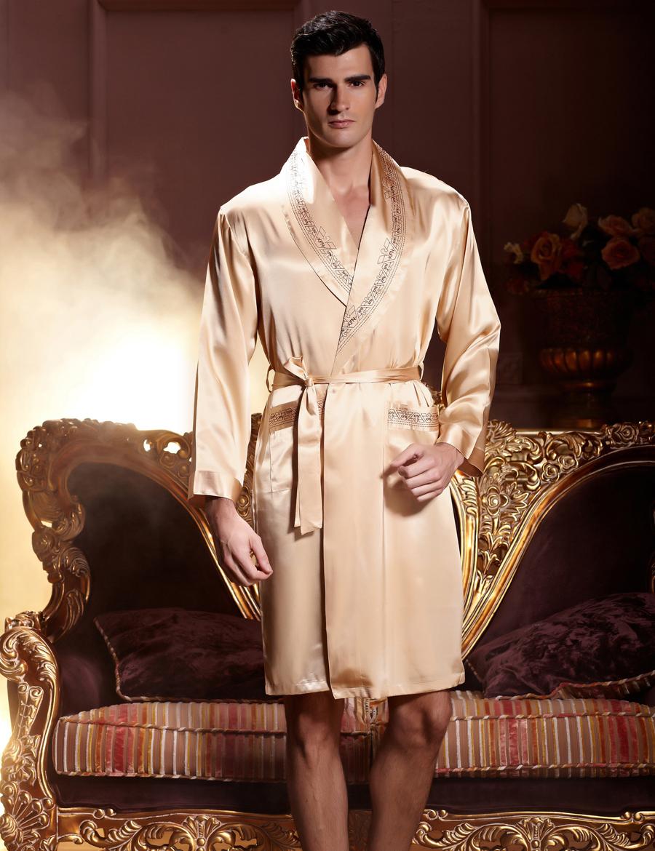 Gold Emulation Silk Men Bathrobe Long Sleeve V Neck Male Robes Soft Silk  Satin Sleepwear Casual Comfortable Homewear 7222 d517de6b4