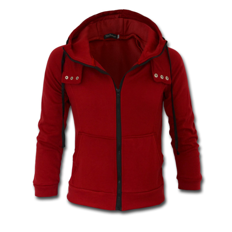 Freeshipping,2014 New Arrival Fashion Hoodies Sweatshirts,High Collar Hooded Jackets Men.Solid Color Jackets.Wholesale&Retail(China (Mainland))