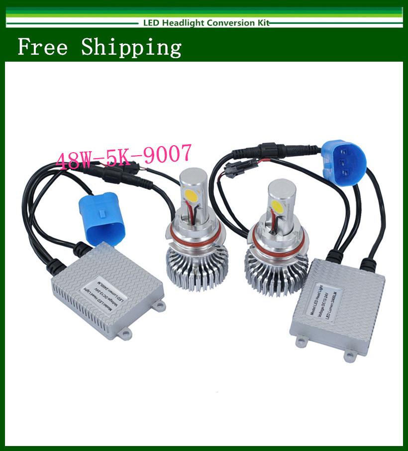 New 9007 48W 5000K LED Headlight Conversion Kit CREE 2*24Watt LEDs Bulb(China (Mainland))