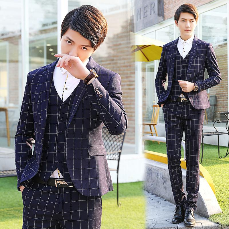 2015 new arrival wedding dress suits Business Dress Wedding Suits, mens Slim casual plaid three-piece terno masculinoОдежда и ак�е��уары<br><br><br>Aliexpress