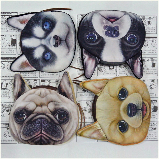 Милый cat собака лицо молния чехол монета портмоне женское бумажник / кошельки макияж ...