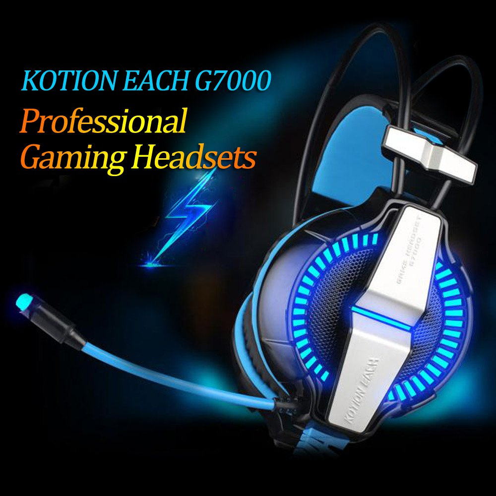 Kotion Each G7000 7.1 Virtual Surround Sound USB Gaming Headset Wired Noise Cancelling Headband Earphone with Mic LED Light(China (Mainland))